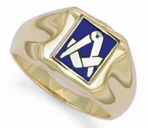 9ct Yellow Gold Enamelled Swivel Centre Masonic Ring